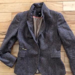 Brown and pink toned tweed blazer